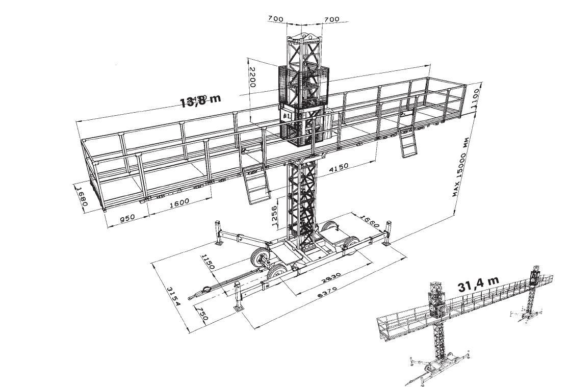 SC4000 двухмачтовая.  Макс. высота с анкеровкой сверху.  Работы по. монтажу конструкций выхода на покрытие.